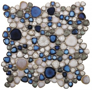 Growing Atlas Grey and Blue Handmade Porcelain in Heart Shape Mosaic Tile| Pool Rated Tile| Bathroom | Shower | Wall | Floor | Backsplash | Accent Wall