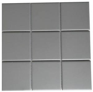 Dark Grey Square Porcelain Mesh Mounted Tile