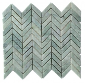 "5/8"" x 2"" Ming Green Marble Herringbone Polished Mesh Mounted Mosaic Tile"