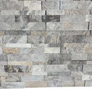 Silver Travertine Honed 3-D Ledger Wall Panel 7 in. x 20 in.