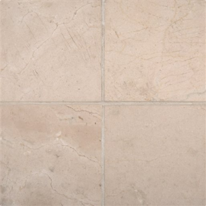 6x6 Spanish Crema Marfil Honed and Beveled Marble Tile