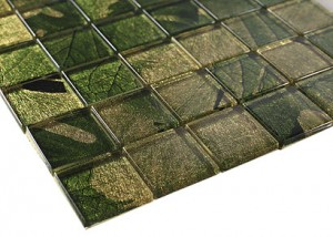 "Seasons serice green 2"" x 2"" spring  glass mosaic  tile"