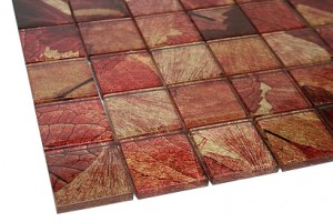 "Summer Red 2"" x 2"" Glass Mosaic Tile"