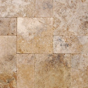 6 in. x 6 in. Walnut Rustico Tumbled Travertine Paver Tile (Each Sqft. = 4 Piece)