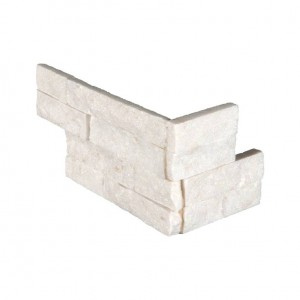 6 in. x 12 in. x 6 in. Arctic White Splitface Marble Corner Ledger Panels Wall Tile