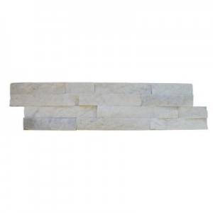 6 in. x 24 in. Arctic White Splitface Quartzite Ledger Panels Wall Tile