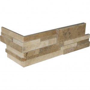 6 in. x 18 in. x 6 in. Casa Blend 3D Multi Finish Travertine Corner Ledger Panels Wall Tile