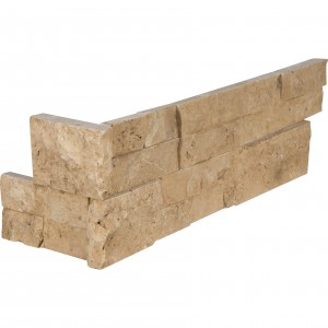 6 in. x 18 in. x 6 in. Cordoba Noche Splitface Travertine Corner Ledger Panel Wall Tile