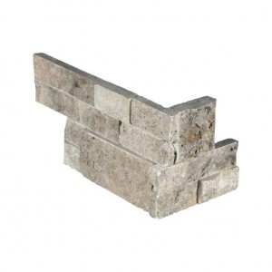 6 in. x 12 in. x 6 in. Silver Travertine Corner Ledger Panels Wall Tile