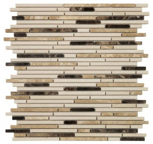 Light & Dark Emperador and Crema Marfil Marble Linear Polished Mosaic Tile | Accent Wall | Interior Wall | Shower Wall | Exterior Wall | Shower Floor