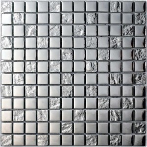 Luxury Silver Square Pattern Silver Glass and Stone Blend Mosaic Tile