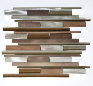 Metallic Beige Multicolor Random Strip Glass and Metal Tile in Linear Glass Tile Mosaic Design