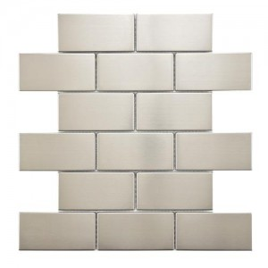 "Metalicca Polished Charcoal Subway 11-3/4"" x 11-3/4"" x 8 Super Stainless Steel Over Porcelain Mosaic Wall Tile"