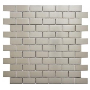 Metalicca Polished Slate Subway 11-3/4 in. x 11-3/4 in. x 8 Standard Stainless Steel Over Porcelain Mosaic Wall Tile