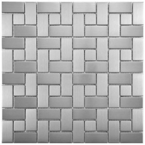 "Metalicca Polished Slate Pactwork 11-3/4""x 11-3/4"" x 8 Spiral Stainless Steel Over Porcelain Mosaic Wall Tile"