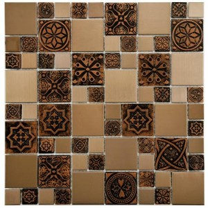 "Metalicca Polished Multi Square 11-3/4""x 11-3/4"" x 8 Versailles Copper Stainless Steel Over Porcelain Mosaic Wall Tile"