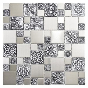 "Metalicca Polished Salt Square 11-3/4"" x 11-3/4"" x 8 Versailles Stainless Steel Over Porcelain Mosaic Wall Tile"