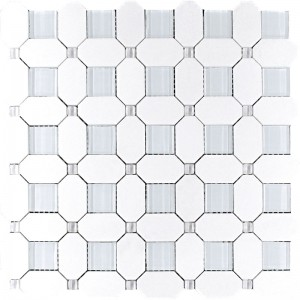 Thassos White Hexagon Pattern Marble and Glass Mesh Mounted Mosaic Tile