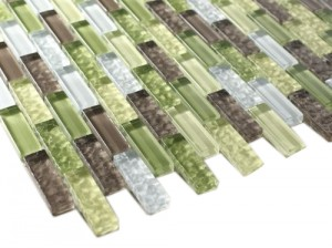 "Crystile Green Glass Mosaic Tile - Tile Size: 1/2"" x 2"" Green, Grey & White"
