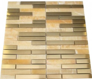 Random brick metallic brass With honey onyx marble & gold copper mosaic tile