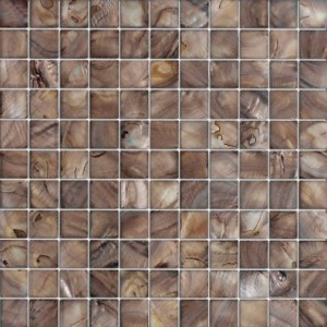 "1"" x1"" Antique brown shell square  polished  mosaic tile"