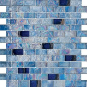 "3/4"" x 1 5/8"" Blue Ice Crystallite Brushed Glass Mosaic Tile"