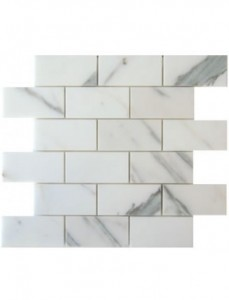 2x4 Italian Calacatta Gold Marble Brick Pattern Polished Mosaic Tile
