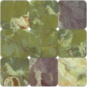 4x4 Green Onyx Tumbled Floor and Wall Tile