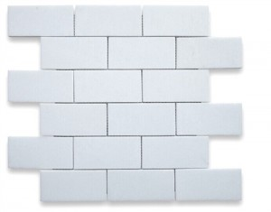 2x4 White Thassos Marble Brick Pattern Polished Mosaic Tile