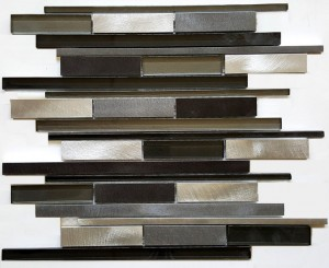 Metallic Black Multicolor Random Strip Glass and Metal Tile in Linear Glass Tile Mosaic Design