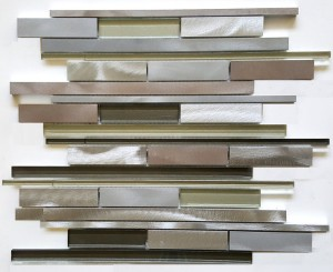 Metallic Grey Multicolor Random Strip Glass and Metal Tile in Linear Glass Tile Mosaic Design
