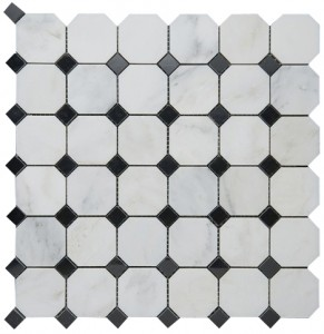 Italian White Carrara Marble with Black dot Honed Mesh Mounted Tile in 2x2 Octagon Tile format