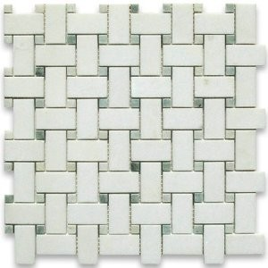 Bianco White Carrara Marble with Ming Green Dot Honed Basketweave Tile