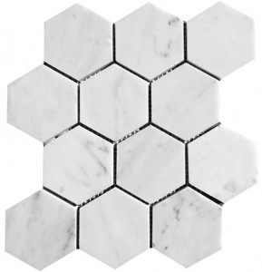 3x3 Bianco White Carrara Marble Hexagon Polished Mosaic Tile