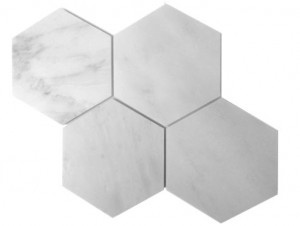 "Bianco White Carrara Marble Honed Mesh Mounted in Tile 6"" Hexagon Tile"