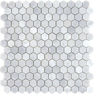 Bianco White Carrara Marble Polished Mesh Mounted Tile in 1x1 Hexagon Tile format