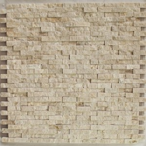 Spanish Crema Marfil Marble Mini / Baby Splitface Pattern Mosaic Tile