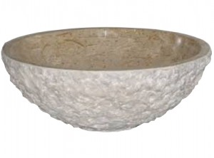 16 in. Contemporary Round Tervera Marble Chiseled Vessel Bowl Basin Style Above Vanity Bathroom Sink