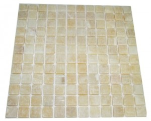 1x1  Honey Onyx Square Pattern Tumbled  Mosaic Tile