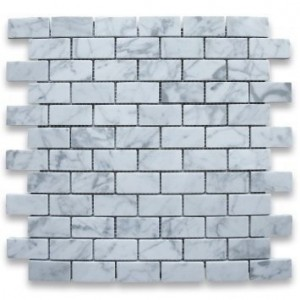 1x2 Italian White Carrara Marble Brick Pattern Honed Mosaic Tile