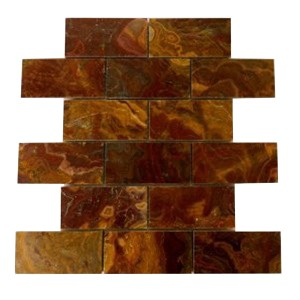 2x4 Red Onyx Brick Pattern Polished Finish Mosaic Tile