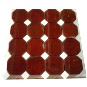 3x3 Red Onyx Octagon Pattern Polished  Mosaic Tile with 1 in. White Dot