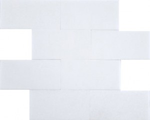 3 in.x 6 in. Thassos White Marble Brick Pattern Polished Mosaic Tile