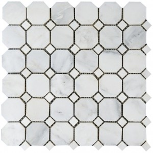 Arabescato White Carrara Marble with Black dot Polished Mesh Mounted Tile in 2x2 Octagon Tile format