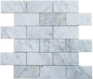 2x4 Italian White Carrara Marble Brick Pattern Polished Mosaic Tile