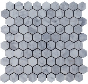 Italian White Carrara Marble Polished Mesh Mounted Tile in 1x1 Hexagon Tile format
