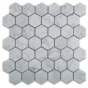 Italian White Carrara Marble Polished Mesh Mounted Tile in 2x2 Hexagon Tile