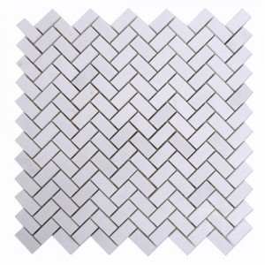 5/8 x 11/4 White Thassos Marble Mini Herringbone Pattern Polished Mosaic Tile