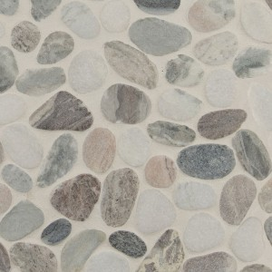 Puebla Greige Pebble Tumbled Marble Mosaic Tile | Wall | Floor | Backsplash |  Accent Wall | Bathroom | Kitchen | Shower | Countertop | Fireplace