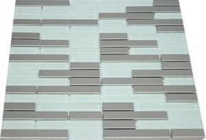 Random brick  marble stainless steel & white glass mosaic  tile